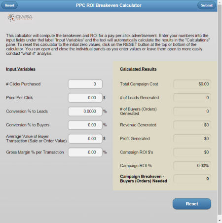 Pay-Per-Click Advertising Breakeven Roi Marketing Calculator