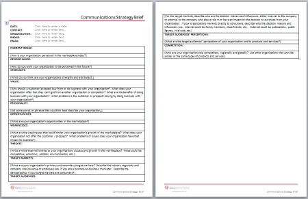 Communications Strategy Brief Template