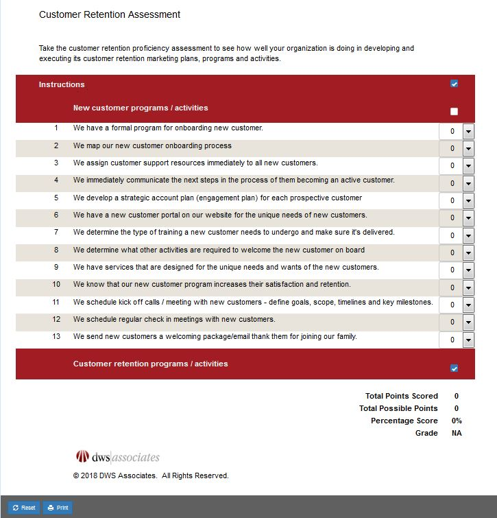 DWS Associates Customer Retention Assessment Tool