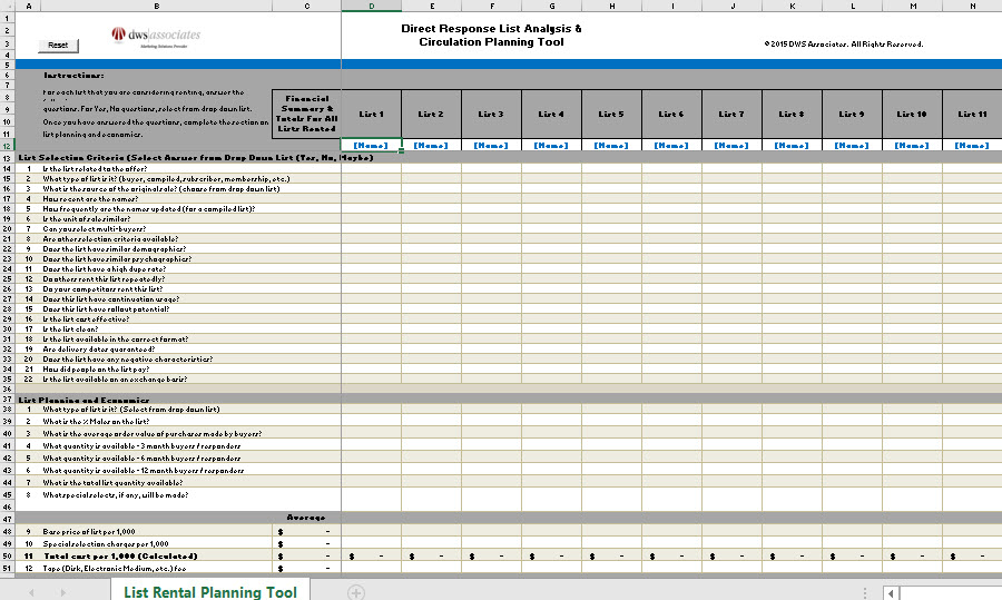 DWS Associates List Rental / Campaign Circulation Planning Tool